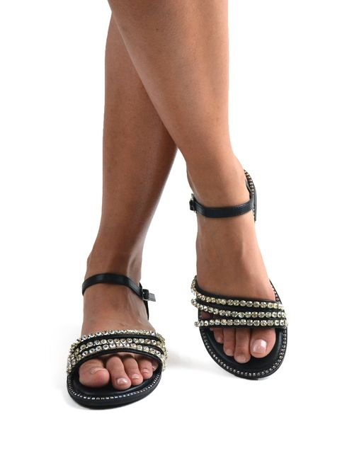Sandalo donna in similpelle con strass