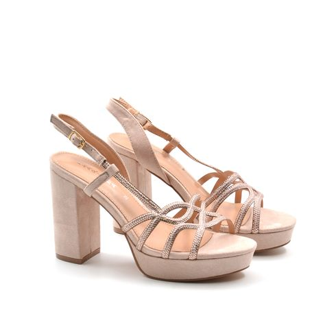 Sandalo da donna con strass e tacco alto