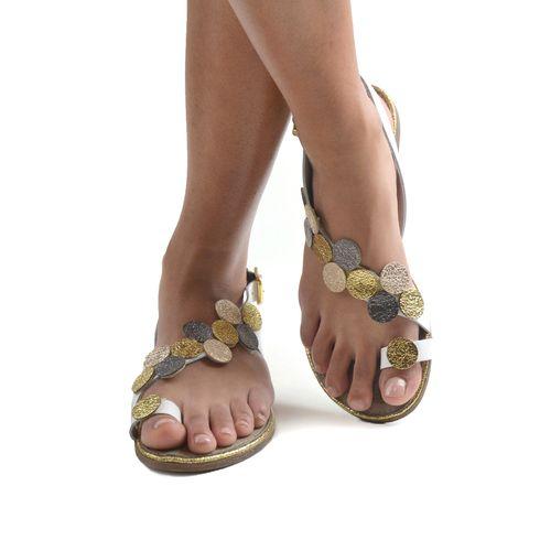 Sandalo infradito da donna in pelle
