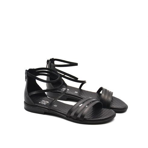 Sandalo da donna in pelle con zip
