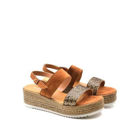 Sandalo donna in pelle con glitter