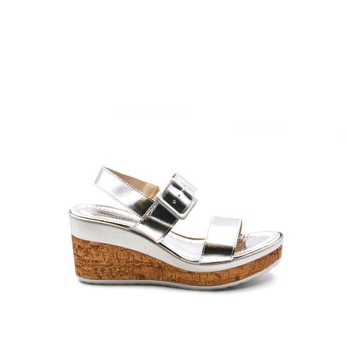 Sandalo da donna in pelle con zeppa