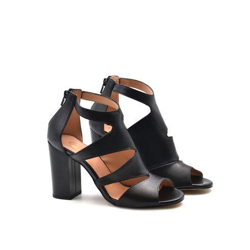 Sandalo donna in pelle con tacco alto