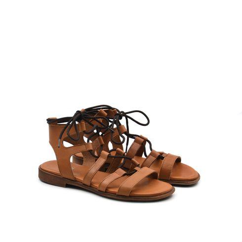 Sandalo da donna in pelle con lacci
