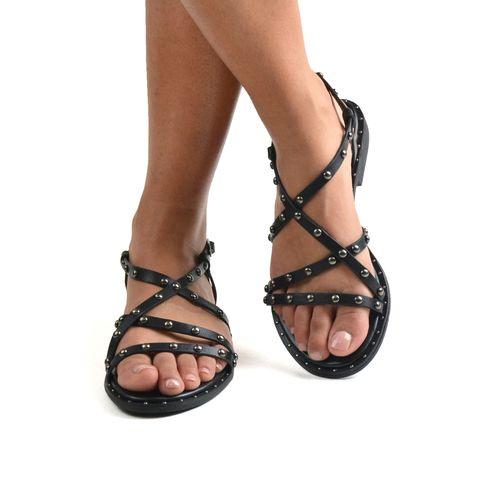 Sandalo da donna con borchie e fibbia