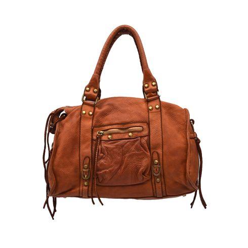 Borsa donna in vera pelle con borchie