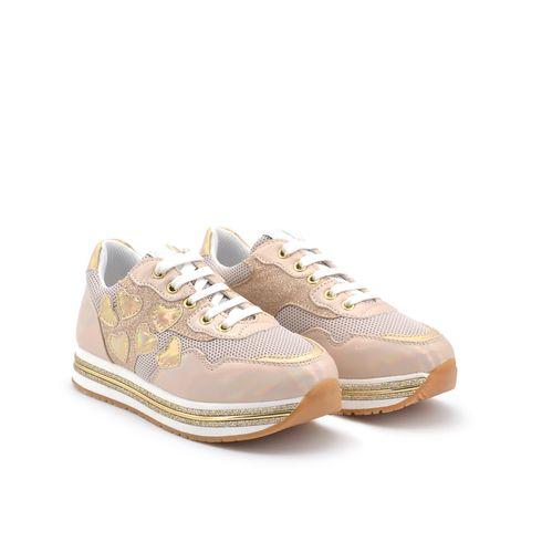 Asso sneaker platform bimba con glitter