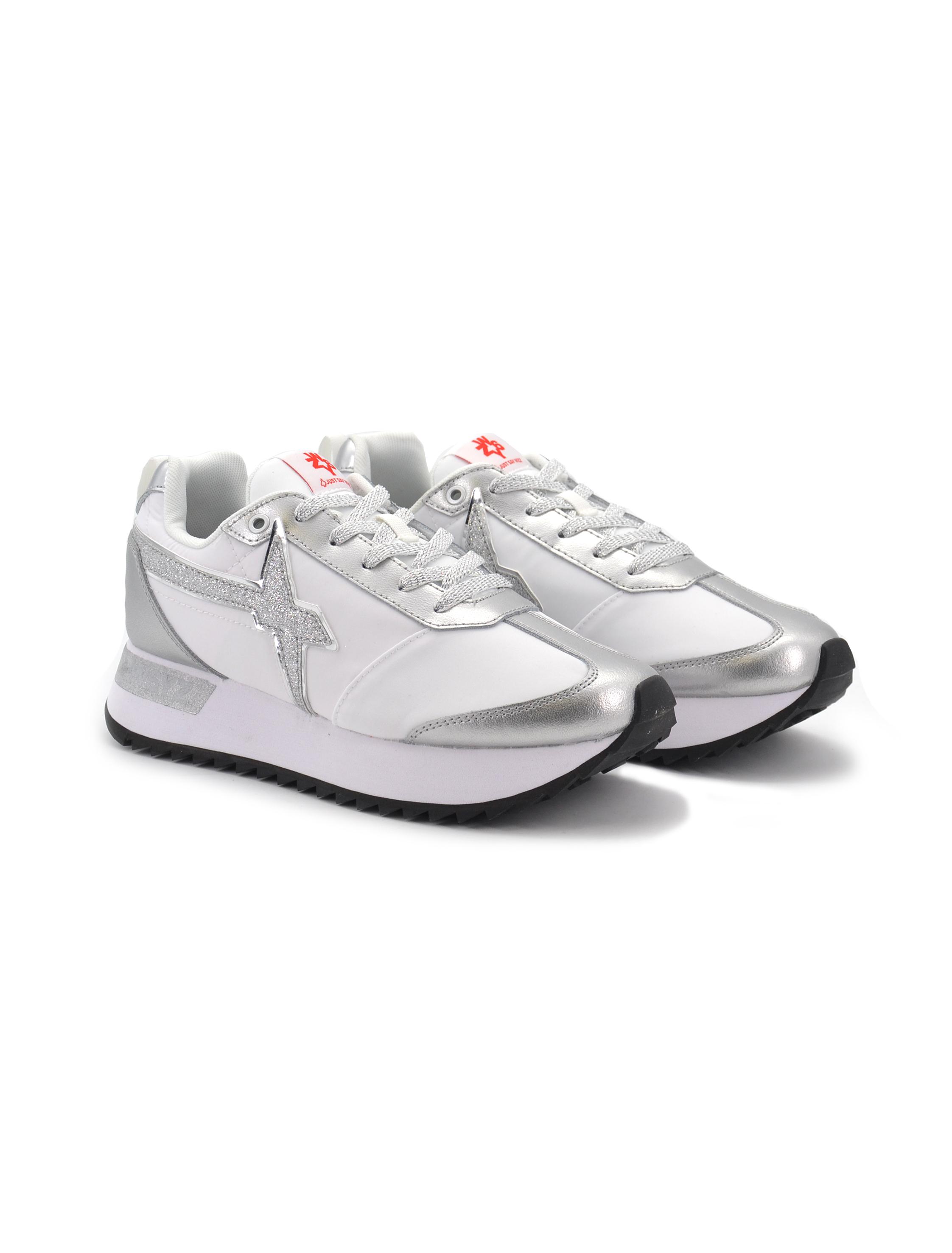 Scarpe sneakers W6YZ kiss donna bianco rosè con glitter 2013563011c06 W6YZ