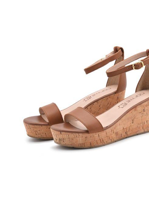 Conté sandalo zeppa donna in vera pelle