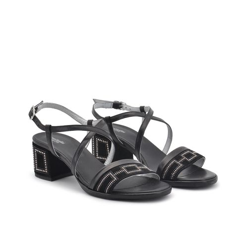 Nero Giardini sandalo pelle e strass