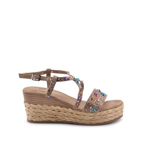Sandalo donna con strass e borchiette