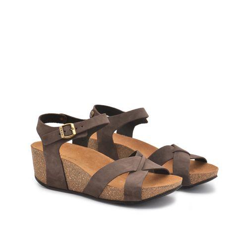 Sandalo zeppa donna in pelle