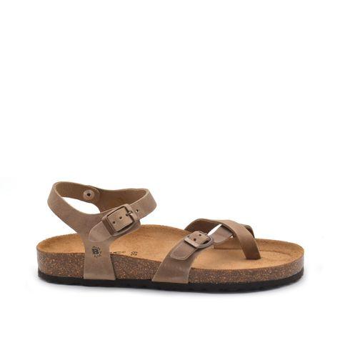 Sandalo da donna in pelle con fibbie
