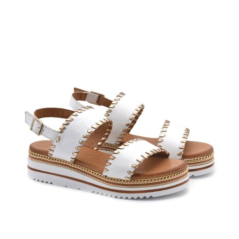 Sandalo platform donna in vera pelle