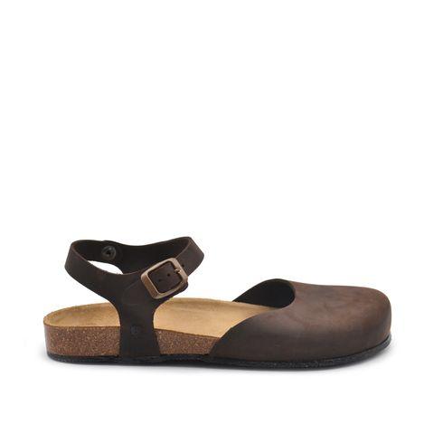 Sandalo donna in vera pelle con fibbia