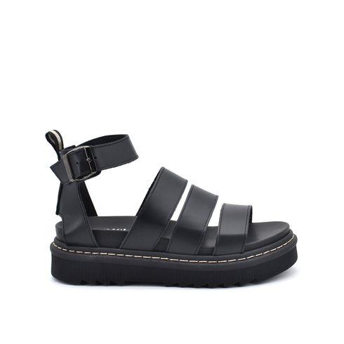 Sandalo platform in pelle da donna