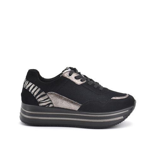 Sneaker platform in pelle e tessuto
