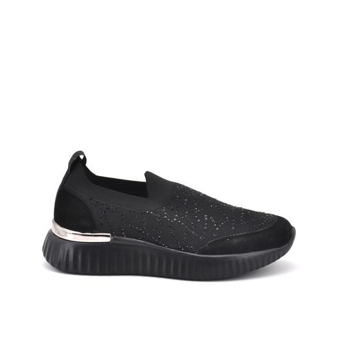 Sneaker slip on con strass da donna