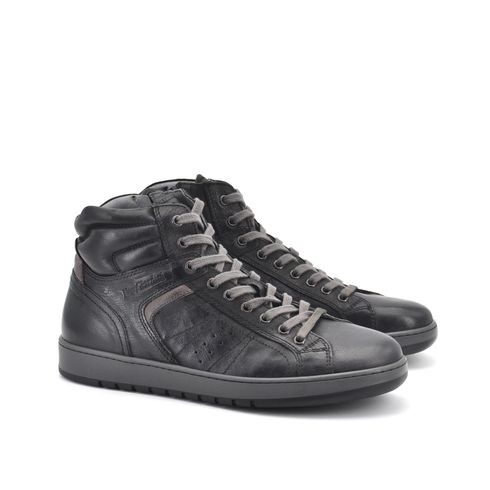 Sneaker alta uomo in vera pelle con zip